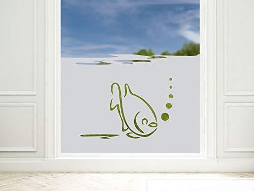 GRAZDesign inkijkwerende folie voor badkamer vis onderwaterwereld, raamfolie als inkijkscherm, douche, glazen deur, 57cm hoog 110x57cm