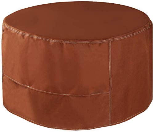 MEIOUKA Round Outdoor Fire Pit Cover Waterproof Windproof Furniture Table Cover Heavy Duty Round Fire Pit Cover - 33 Inch