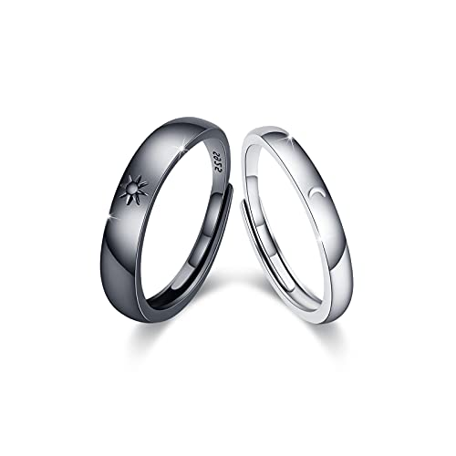 Mond und Sonne Paar Ringe Set 925 Sterling Silber Mond Ring und Sonne Ring Verstellbare Partnerringe für Sie und Ihn Versprechensring Paar Valentinstagsgeschenke