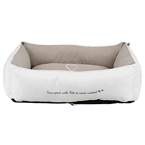 Trixie 38238 Bett Pet's Home, 80 × 60 cm, weiß/taupe