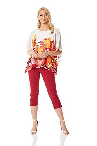Roman Originals - Top de gasa con estampado de rayas florales para mujer, para todos los días, casual, elegante, fiesta, barbacoa, verano, vacaciones, ocasiones especiales, ropa de rayas de flores