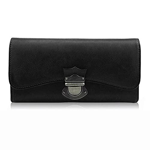 Monedero para mujer de piel, grande, muchos compartimentos con 18 compartimentos para tarjetas, monedero largo, monedero con cremallera, color negro