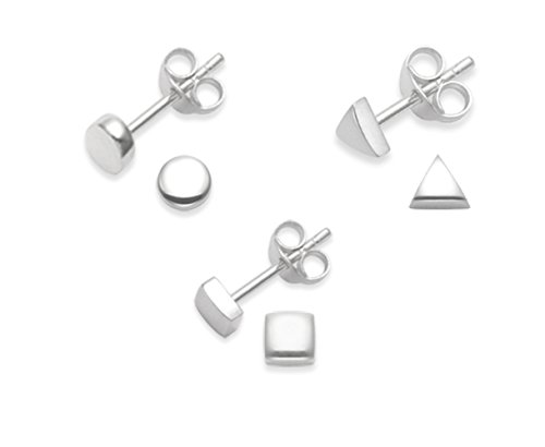 Juego de 3 pares de pendientes de plata de ley, diseño cuadrado, triángulo y redondo, tamaño: 4 mm - 2 mm de profundidad