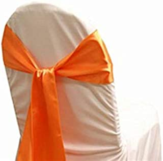mds Pack of 50 Satin Chair Sashes Bow sash for Wedding and Events Supplies Party Decoration Chair Cover sash -Orange