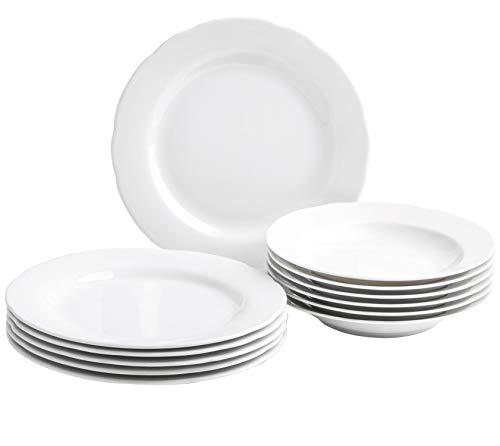 Kahla 1R0657O9001RB Basic Tellerset für 6 Personen Tafelservice Set ohne Muster Porzellan Geschirrset 12-teilig weiß geschwungen Teller Suppenteller
