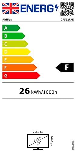 Philips 275E2FAE - 27 Zoll QHD Gaming Monitor, 75 Hz, 4ms, AdaptiveSync (2560x1440, HDMI, DisplayPort) schwarz