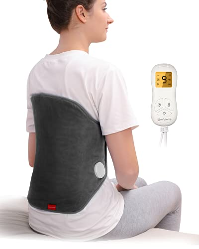 """Upgraded Heating Pad for Back Pain Relief, Comfytemp XL Electric Heated Back Wrap with Strap, 9 Heat Settings, 5 Auto-Off, Stay On, Backlight for Cramps, Waist, Lumbar, Abdomen, 15""""x 24"""" - Washable"""