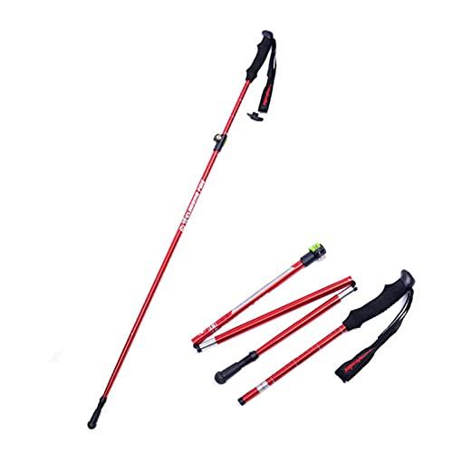 ZQZQMR Los Polos de Trekking Son Plegables, (2pcs) Polos de Trekking de Aluminio Ultraligero 7075, con una función rápida de desbloqueo y Bloqueo, Equipo de Senderismo Red