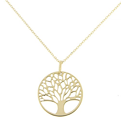 Lucchetta Schmuck Echtes Gold, Goldkette Damen 375 Echtgold, Halskette Baum des Lebens 9 karat Gelbgold, Echtgoldkette
