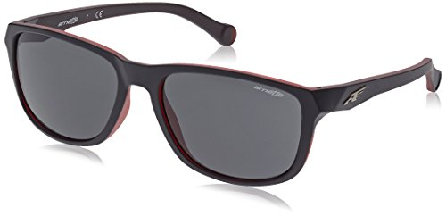 Arnette Straight Cut gafas de sol, Matte Black On Opal Red, 58 para Hombre