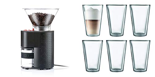Bodum Bistro Grinder Bundle w/Canteen Double Wall Glasses, Black - 10903-01US