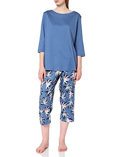 CALIDA Damen Cosy Flowers Zweiteiliger Schlafanzug, Blau (Atlas Blue 443), 48 (Herstellergröße:L)