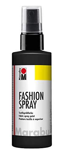 Marabu 17190050073 - Fashion Spray schwarz 100 ml, Textilsprühfarbe, m. Pumpzerstäuber, für helle Textilien, weicher Griff, einfache Fixierung, waschbeständig bis 40°C, tolle Effekte auf Stoff