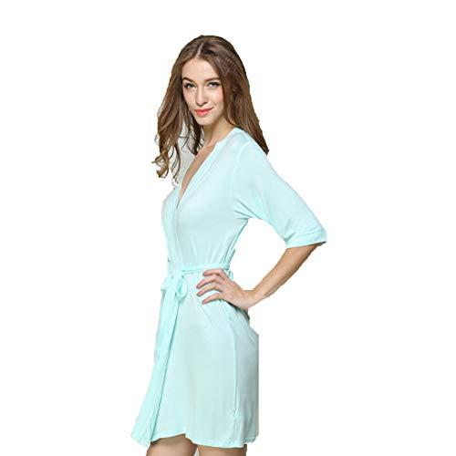 Pyjamas d'été pour Femmes Pyjamas à Manches Courtes en Coton Sexy New Tube Top Modal Chemise de Nuit Vert Clair M-L,L