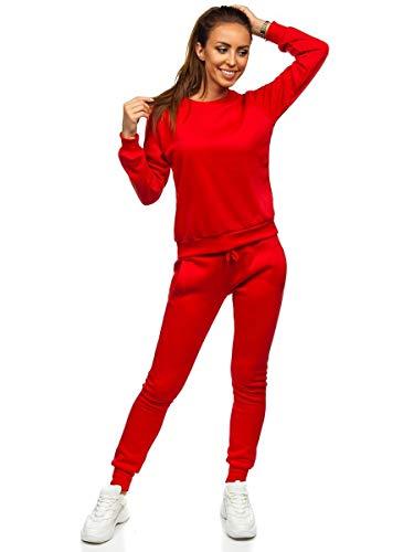 BOLF Damen Sportanzug Jogginganzug Trainingsanzüge Fitnessanzug Sweatshirt Set Tracksuit Workout Sport Fitness für Running Yoga Gym Sportswear J.Style 0001 Rot L [H8H]