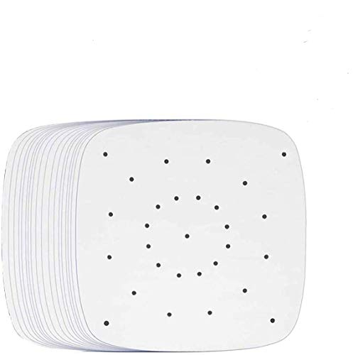 200 Pcs Air Fryer Liners Paper, 8.5 inch Non-Stick Perforated Parchment Square Baking Paper Anti Stick Bamboo Steaming Heat Resistance Air Fryer Lined Paper Sheets (White)