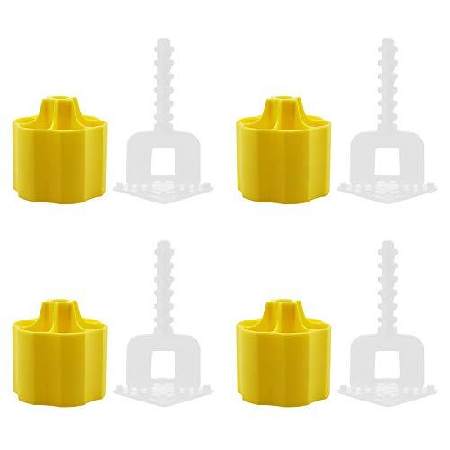 200 estuches de herramientas para sistema de nivelación de baldosas espaciadoras, base niveladora de azulejos tipo plano, 1 mm, clips y tapas reutilizables para suelos de paredes