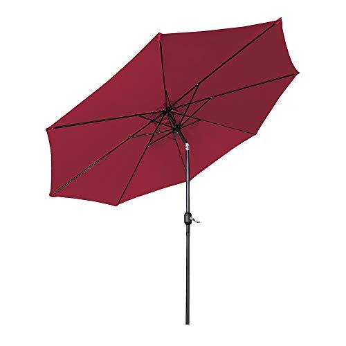 Hengmei - Sombrilla de 300 cm de aluminio para jardín, terraza, mercado, sombrilla de playa, con manivela y protección UV 40+, para balcón, jardín, terraza rojo (3M) EU
