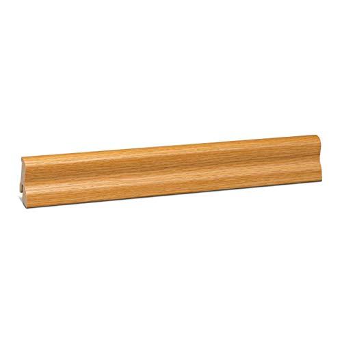 KGM Laminatleiste Marburger | Eiche hell Sockelleisten 40mm ✓Clip Leiste für unsichtbare Befestigung ✓geschwungene Leiste | mdf Fußleiste 20x40mm mit Qualitätsfolie Eiche hell | Länge 2.5m
