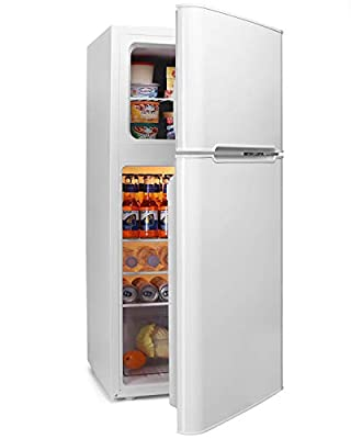 Mini Fridge with Freezer, 4.5 Cu.Ft Compact Refrigerator with freezer, 2 Door Mini Fridge with freezer, Upright for Dorm, Bedroom, Office, Apartment- Food Storage or Drink Beer, White