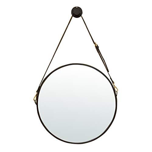 Miroir mural rond en métal avec bracelet en simili cuir réglable | Encadré en fer | Miroirs de salle de bain fixés au mur Miroirs de maquillage rétro Décoration Miroirs
