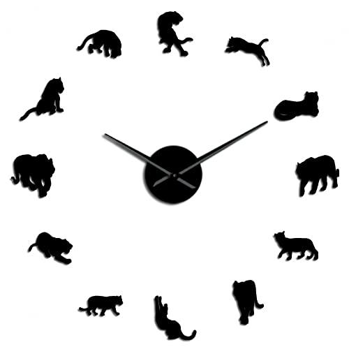 YQMJLF Reloj Pared DIY 3D Grande Tigres de Vida Silvestre sin Marco 3D DIY Reloj de Pared Animales Salvajes Cuarzo Acrílico Espejo Adhesivo Reloj Reloj Sala de Estar Diseño único Negro