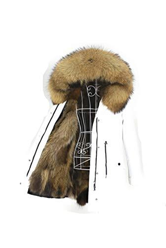 Lea Marie Damen Luxury Parka XXL Kragen aus 100% ECHTPELZ ECHTFELL Jacke Mantel Fuchspelz Innenfutter (S, Weiß)