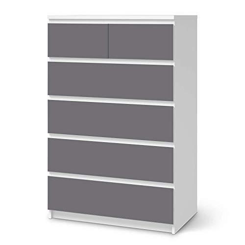creatisto Möbel-Tattoo passend für IKEA Malm Kommode 6 Schubladen (hoch) I Möbelfolie - Möbel-Aufkleber Folie Tattoo I Deko DIY für Wohnzimmer und Schlafzimmer - Design: Grau Light