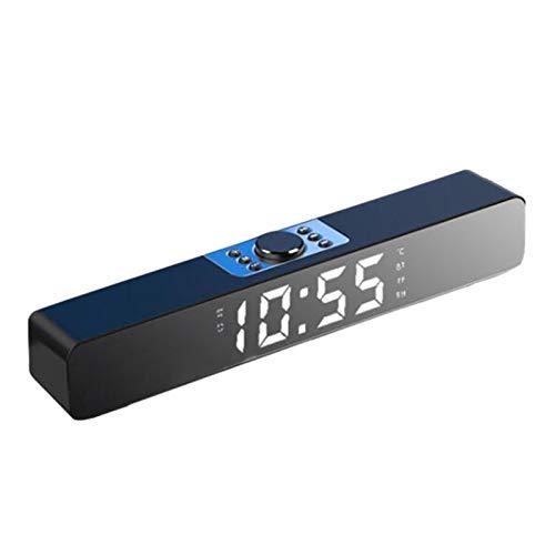 Mothcattl Mini Altavoz Inalámbrico Bluetooth 5,0 con Reloj Despertador, Tarjeta De Inserción, Barra LED Recargable, Reloj Despertador, Altavoz, Reproductor De Música para El Hogar Negro