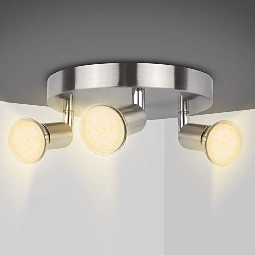 LED Ceiling Light Rotatable,Hansang 3 Way Round Plate Ceiling Spotlight,3000K Warm White Ceiling Mounted,400LM Track Lighting Fixture for Kitchen,Hallway,4W GU10 LED Light Bulbs Included