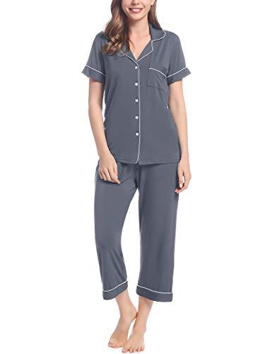 Joyaria Damen Schlafanzug Capri Pyjama Set mit Knopfleiste für Sommer Schlafanzüge Kurz/Kurzarm Bambus(Dunkelgrau,Größe M)