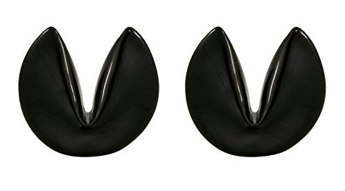 Black Ceramic Fortune Cookie Spoon, Knife, or Utensil Holder Chopstick Rest, 1 3/4 Inches, Set of 2
