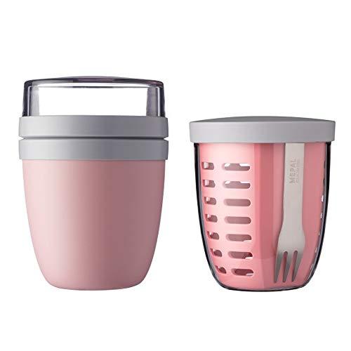 Mepal Set Ellipse Lunchpot mit Fruitpot Lunchbox Essensbehälter (Nordic pink)
