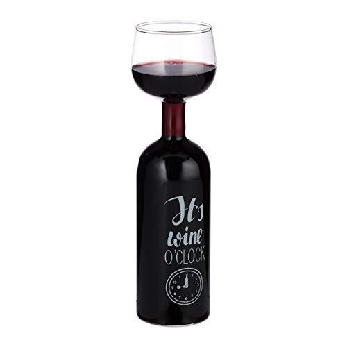 Relaxdays, transparent Weinflasche Glas, XL Weinglas mit Spruch, Fun Geschenk für Weinliebhaber, Weinflaschenglas 750 ml