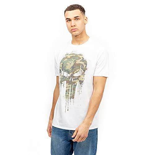 Marvel Punisher Skull Camo Camiseta, Blanco, M para Hombre