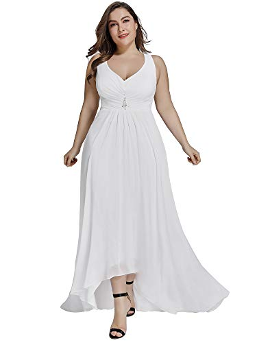 Ever-Pretty Women?s V-Neck High Low Chiffon Long Cocktail Dresses for Women White US20