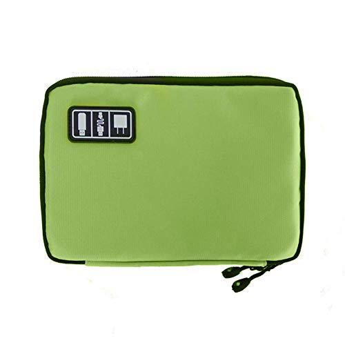 Calidad Premium Viaje USB Flash Drive Cable Auricular Organizador Bolsa Bolsa Bolsa de Almacenamiento Digital - Verde Fliyeong