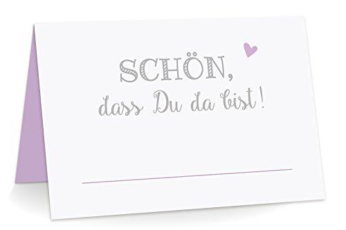KuschelICH 50 Premium Tischkarten Schön DASS Du da Bist mit Herz Flieder - Platzkarten zum selbst Beschriften (Flieder, 50)