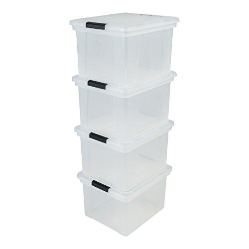 IRIS 130159 Archiv-Hängeboxen, 4-er Set, Plastik, durchsichtig/schwarz, 44 x 38 x 28,5 cm