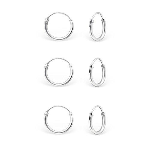 DTPsilver - Damen - Klein Creolen - Ohrringe 925 Sterling Silber Set Paare 3 - Dicke 1.2 mm - Durchmesser 10 mm