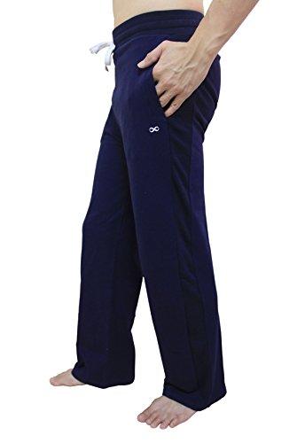 YogaAddict Herren-Yogahose, auch für Pilates, Fitness, Training, Freizeit, Lounge, Schlafen, Kampfsport, lang Medium marineblau