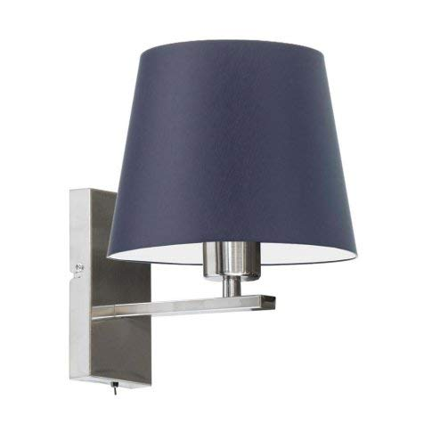 Lámpara de pared LIMA con interruptor, pantalla azul marino, marco de acero cepillado
