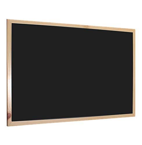 H HANSEL HOME - Pizarra Negra con Marco de Madera Natural - 60X90 cm