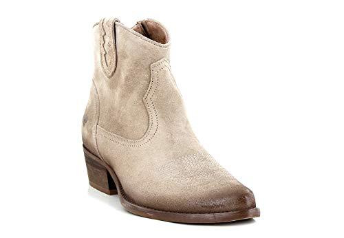 Felmini - Damen Schuhe - Verlieben West B504 - Cowboy & Biker Stiefeletten - Echtes Leder - Beige - 37 EU Size