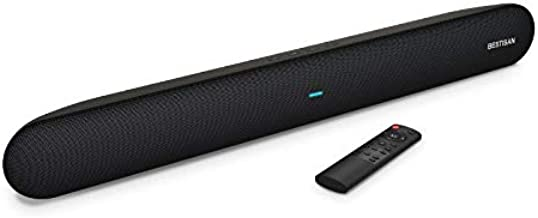 BESTISAN TV Sound bar, Wired and Wireless Bluetooth 5.0 Home Audio Sound Bars, Bass Adjustable with Remote Control, Includes Aux & Optical Cables, Wall Mountable(Easy Set up).