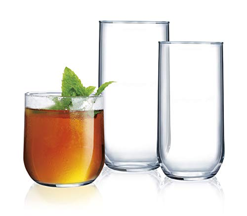 Set of 18 Piece Sleek Modern Drinkware Tumbler Set, Drinking Glasses Ideal for everyday use or entertaining, Elegant Tall Design, for Dinner, Parties, and Events…