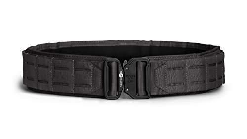 Tacticon Battle Belt | Combat Veteran Owned Company | Padded Tactical Belt | Gun Belt With Metal Quick Release Buckle | Laser Cut Molle PALS System (Tactical Black, L [40' - 46' Waist])