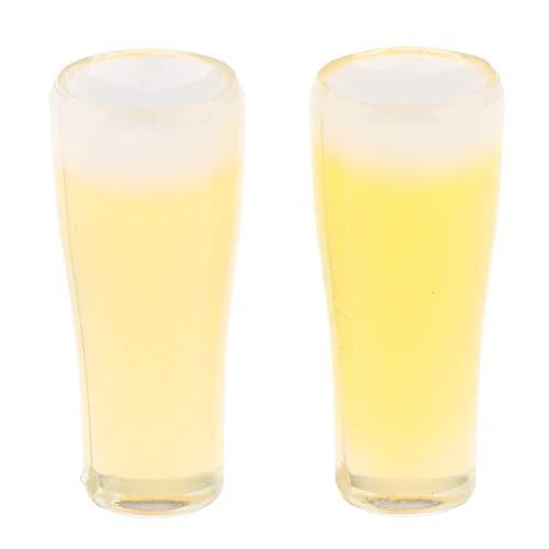 MagiDeal 1 Paar 1:12 Puppenhaus Miniatur Bierglas Weißbierglas Bier Tassen (einschließlich Bier) für Puppestuben Küche / Esstisch / Pub / Party Zubehör