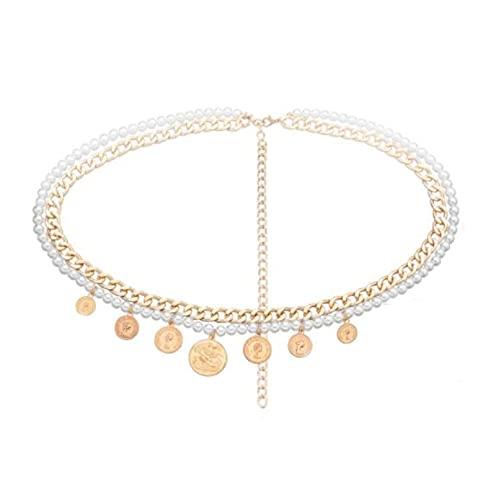 MENGHUA Perla de aleación multicapa cadena cuerpo cadena belleza mujer cabeza colgante sexy corsé cadena oro