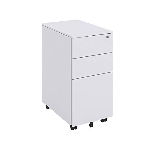 HGDD Archivador Móvil para Oficina Cajoneras de Oficina Archivador De Metal con 3 Cajones con Cerradura, Conjunto De Ruedas Completa Estante De Almacenamiento (Color : White)